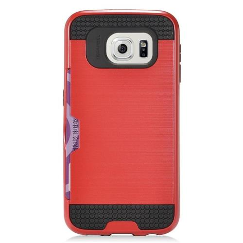 Insten Hybrid Rubberized Hard PC/Silicone ID/Card Slot Case For Samsung Galaxy S7 Edge, Red/Black