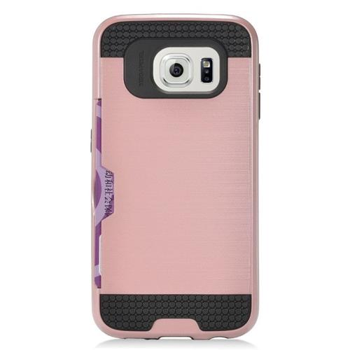 Insten Hybrid Hard PC/Silicone ID/Card Slot Case For Samsung Galaxy S7 Edge, Rose Gold/Black