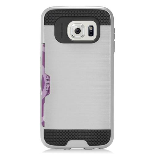 Insten Hybrid Rubberized Hard PC/Silicone ID/Card Slot Case For Samsung Galaxy S7 Edge, Silver/Black