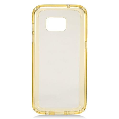 Insten TPU Rubber Candy Skin Case Cover Compatible With Samsung Galaxy S7 Edge, Clear/Gold