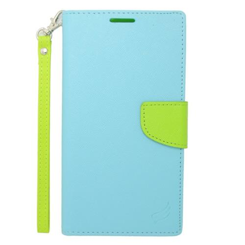 Insten Flip Leather Case Lanyard w/stand/card holder For Samsung Galaxy Mega 2, Light Blue/Green