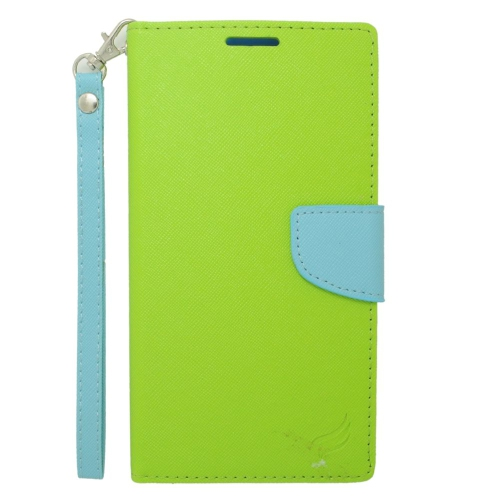 Insten Flip Leather Case Lanyard w/stand/card slot For Samsung Galaxy Mega 2, Green/Light Blue