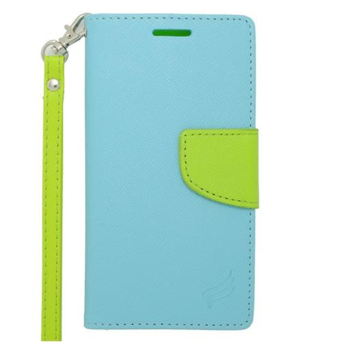 Insten Folio Leather Case Lanyard w/stand/card slot For Samsung Galaxy Alpha, Light Blue/Green