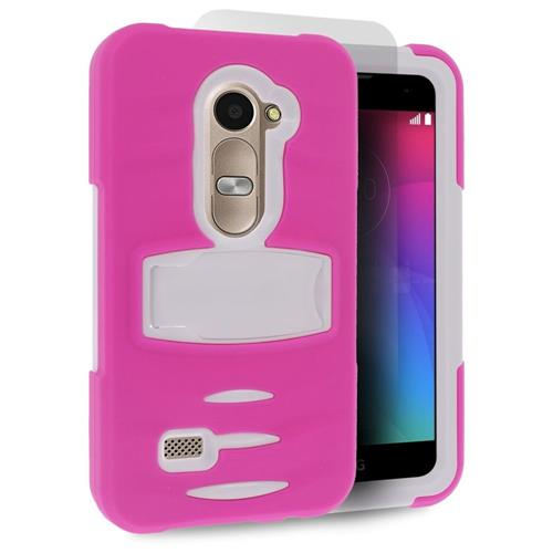Insten Hybrid Rubber Hard Case w/stand For LG Destiny/Leon/Power/Risio/Tribute 2, Hot Pink/White