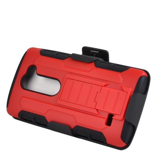 Insten Armor Hard Hybrid Case w/stand/Holster For LG Destiny/Leon/Power/Risio/Tribute 2, Red/Black