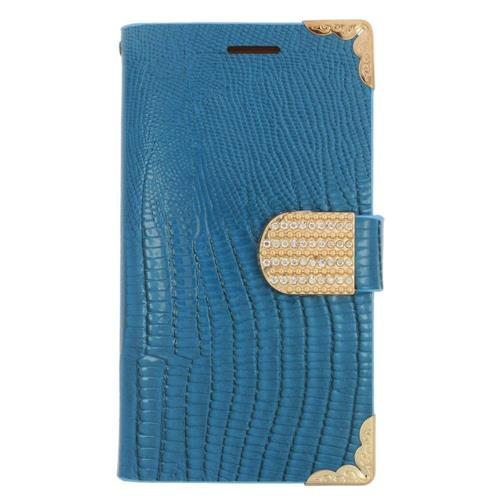 Insten Flip Leather Fabric Case w/card holder/Diamond For Samsung Galaxy Avant, Light Blue/Gold