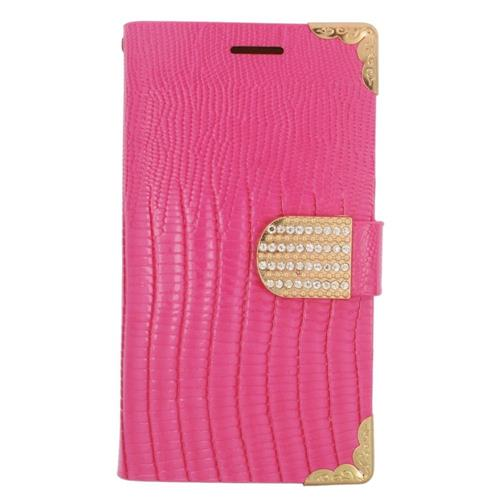 Insten Book-Style Leather Fabric Case w/card holder/Diamond For Samsung Galaxy Avant, Pink/Gold