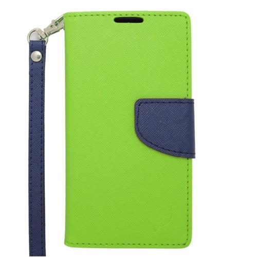 Insten Leather Fabric Case Lanyard w/stand/card holder For Samsung Galaxy Avant, Green/Blue