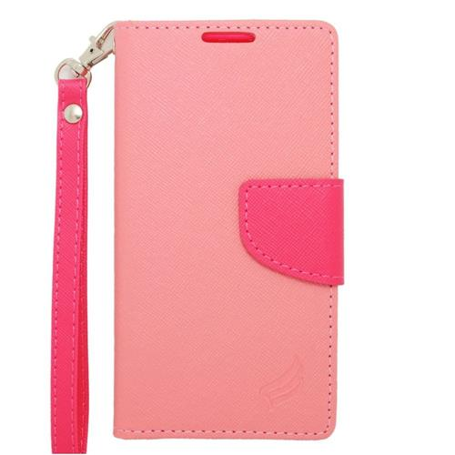 Insten Leather Fabric Case Lanyard w/stand/card holder For Samsung Galaxy Avant, Pink/Hot Pink