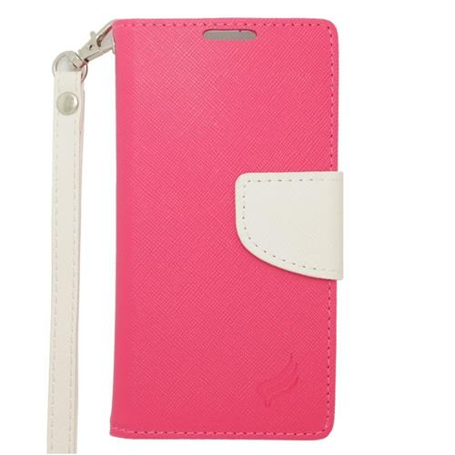 Insten Leather Case Lanyard w/stand/card slot/Photo Display For Samsung Galaxy Avant, Pink/White