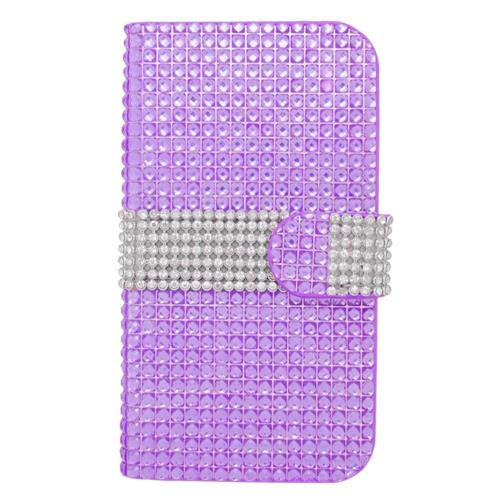 Insten Folio Leather Diamond Case w/card holder For Samsung Galaxy Avant, Purple/Silver