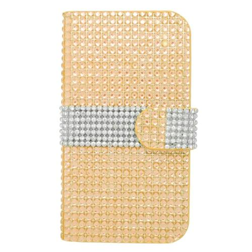 Insten Book-Style Leather Bling Case w/card holder For Samsung Galaxy Avant, Gold/Silver