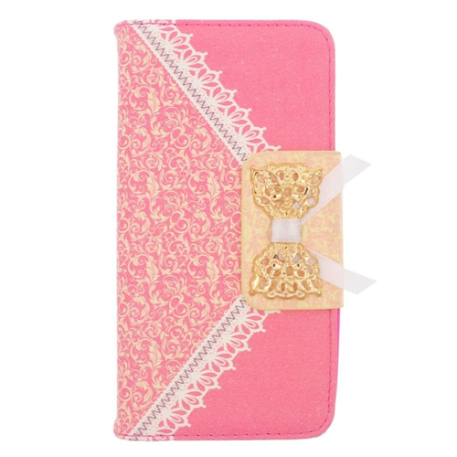 Insten Flip Leather Fabric Cover Case w/stand/card holder For Samsung Galaxy Avant, Hot Pink/Gold