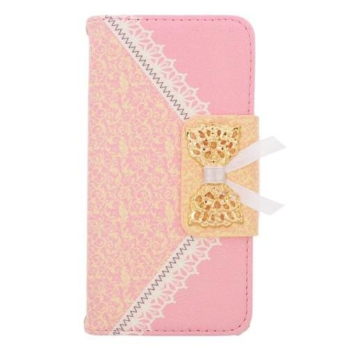 Insten Folio Leather Fabric Case w/stand/card slot For Samsung Galaxy Avant, Pink/Gold