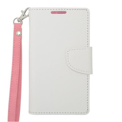 Insten Leather Fabric Case Lanyard w/stand/card holder/Photo Display For LG Volt, White/Pink