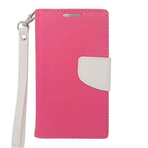 Insten Folio Leather Fabric Case Lanyard w/stand/card holder/Photo Display For LG Volt, Pink/White