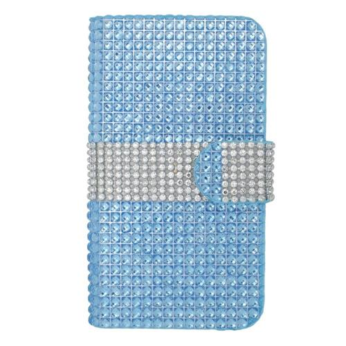 Insten Folio Leather Diamond Cover Case w/card slot For LG Volt, Light Blue/Silver