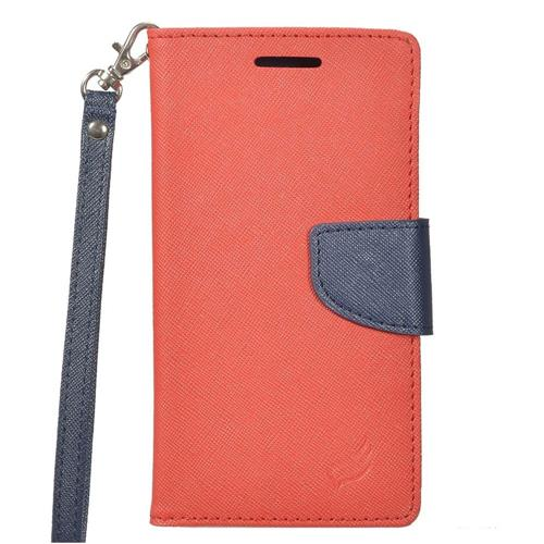 Insten Leather Fabric Case Lanyard w/stand/card slot/Photo Display For LG K7 Tribute 5, Red/Blue