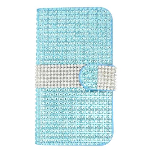 Insten Flip Leather Bling Case w/card holder For LG K7 Tribute 5, Light Blue/Silver