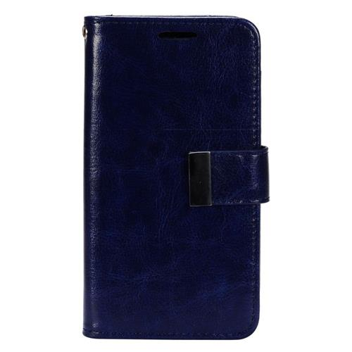 Insten Flip Leather Fabric Case w/card holder/Photo Display For LG K7 Tribute 5, Dark Blue