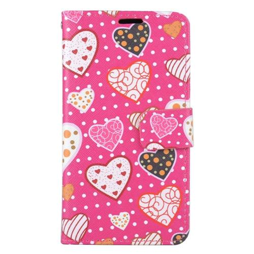 Insten Hearts Folio Leather Case w/stand/card holder/Photo Display For LG K7 Tribute 5, Colorful