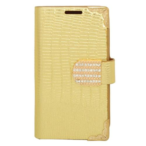 Insten Leather Case w/card holder For LG Optimus Exceed 2 VS450PP Verizon/Optimus L70/Realm, Gold