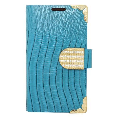 Insten Leather Case For LG Optimus Exceed 2 VS450PP Verizon/Optimus L70/Realm, Light Blue/Gold