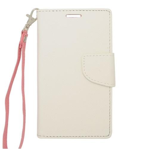 Insten Leather Case w/stand For LG Optimus Exceed 2 VS450PP Verizon/Optimus L70/Realm, White/Pink