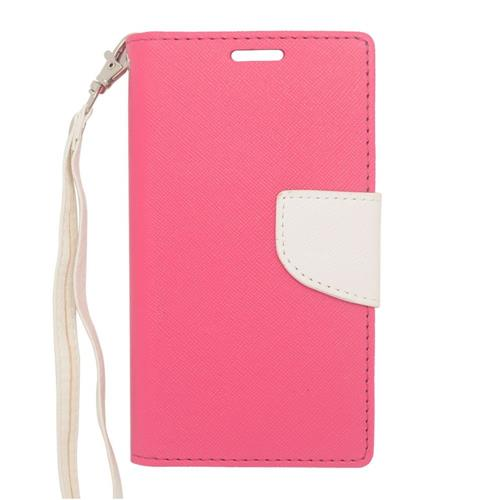 Insten Leather Case w/stand For LG Optimus Exceed 2 VS450PP Verizon/Optimus L70/Realm, Pink/White