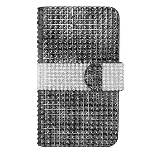 Insten Leather Diamante Case For LG Optimus Exceed 2 VS450PP Verizon/Optimus L70/Realm, Black/Silver