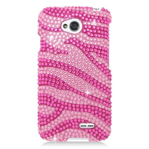 Insten Zebra Hard Rhinestone Case For LG Optimus Exceed 2 VS450PP/Optimus L70/Realm, Hot Pink/Pink