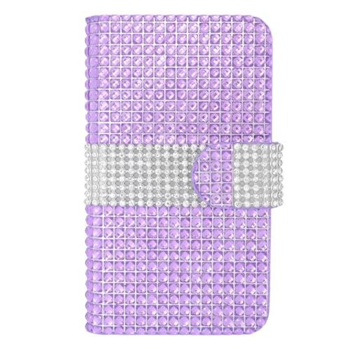 Insten Leather Bling Case For LG Optimus Exceed 2 VS450PP Verizon/Optimus L70/Realm, Purple/Silver