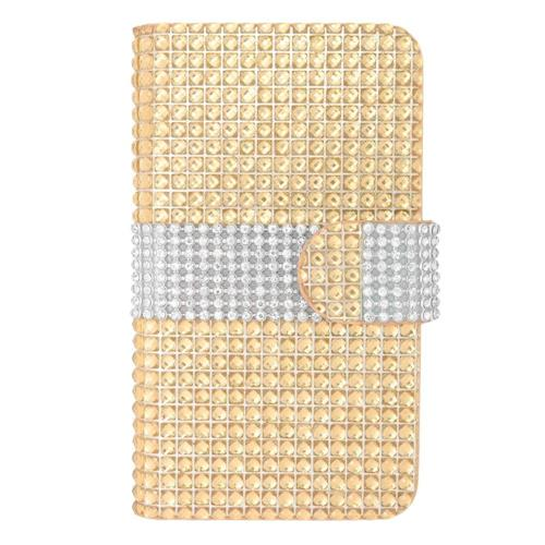 Insten Leather Diamante Case For LG Optimus Exceed 2 VS450PP Verizon/Optimus L70/Realm, Gold/Silver