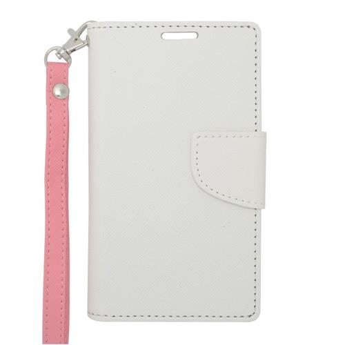 Insten Folio Leather Case Lanyard w/stand/card holder/Photo Display For LG Optimus L90, White/Pink