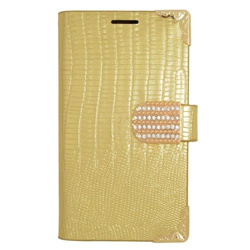 Insten Folio Leather Fabric Case w/card holder/Diamond For LG Tribute, Gold