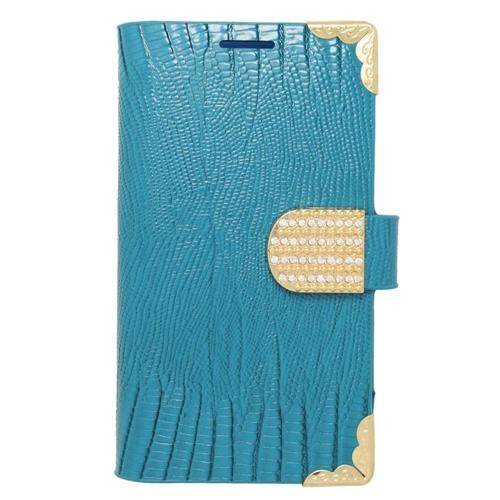 Insten Folio Leather Fabric Case w/card holder/Diamond For LG Tribute, Light Blue/Gold
