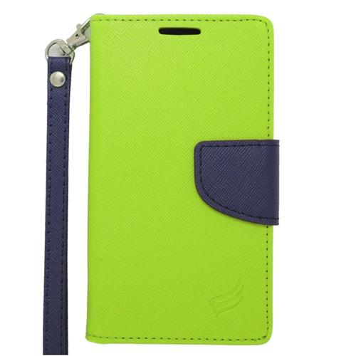 Insten Leather Fabric Case Lanyard w/stand/card slot/Photo Display For LG Tribute, Green/Blue