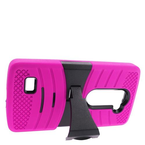 Insten Hybrid Case For LG Destiny/Leon Leon 4G LTE H340N/Power/Risio/Tribute 2, Hot Pink/Black
