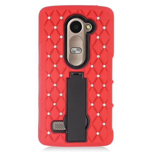 Insten Hybrid Case With Diamond For LG Destiny/Leon 4G LTE H340N/Power/Risio/Tribute 2, Red/Black