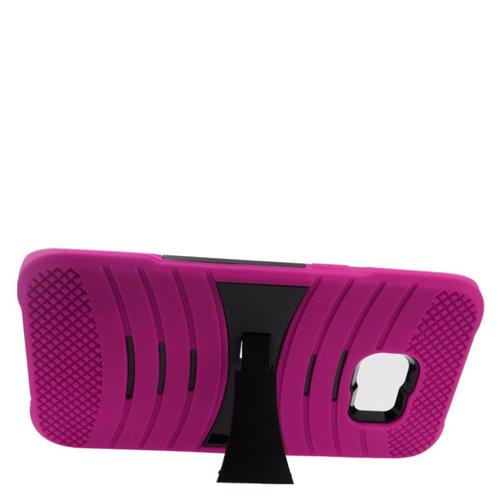 Insten Wave Hybrid Stand Rubber Silicone/PC Case For Samsung Galaxy S6 Edge Plus, Hot Pink/Black
