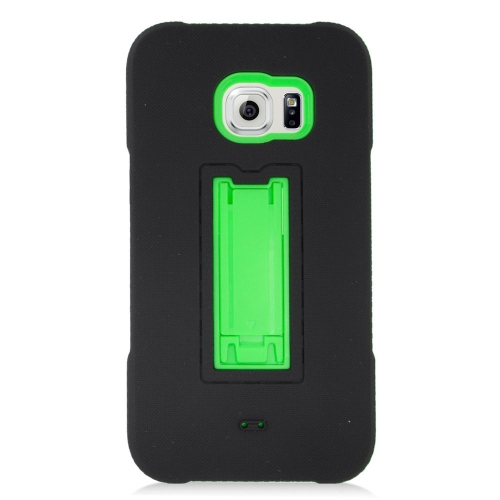 Insten Hybrid Stand Rubber Silicone/PC Case For Samsung Galaxy S6 Edge Plus, Black/Green