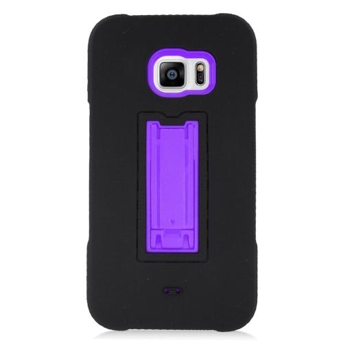 Insten Hybrid Stand Rubber Silicone/PC Case For Samsung Galaxy S6 Edge Plus, Black/Purple