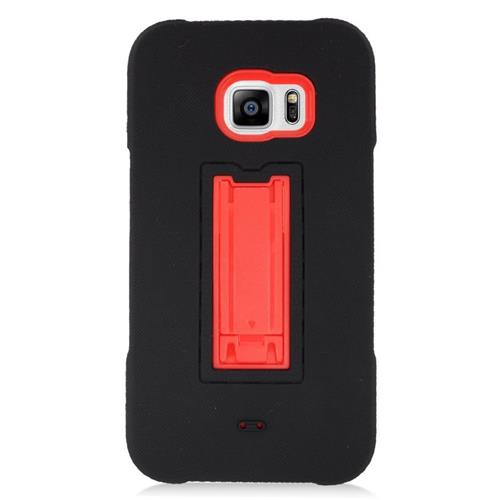 Insten Hybrid Stand Rubber Silicone/PC Case For Samsung Galaxy S6 Edge Plus, Black/Red