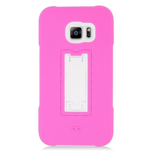 Insten Hybrid Stand Rubber Silicone/PC Case For Samsung Galaxy S6 Edge Plus, Hot Pink/White