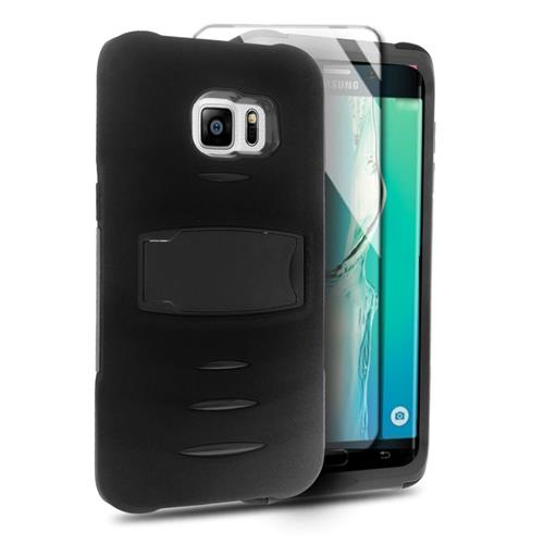 Insten Hybrid Stand Silicone/PC Case w/Screen Protector For Samsung Galaxy S6 Edge Plus, Black