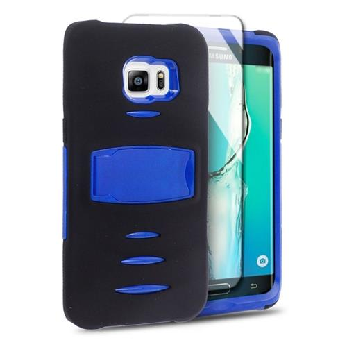 Insten Hybrid Stand Silicone/PC Case w/Screen Protector For Samsung Galaxy S6 Edge Plus, Black/Blue