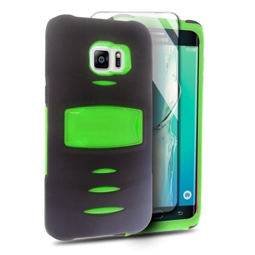 Insten Hybrid Stand Silicone/PC Case w/Screen Protector For Samsung Galaxy S6 Edge Plus, Black/Green