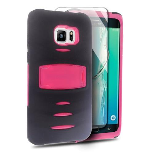 Insten Hybrid Silicone/PC Case w/Screen Protector For Samsung Galaxy S6 Edge Plus, Black/Hot Pink