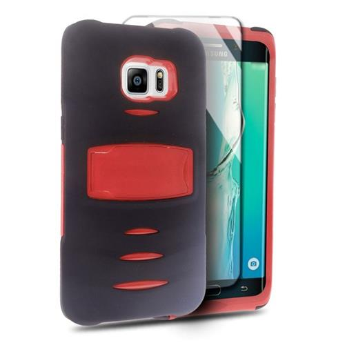 Insten Hybrid Stand Silicone/PC Case w/Screen Protector For Samsung Galaxy S6 Edge Plus, Black/Red