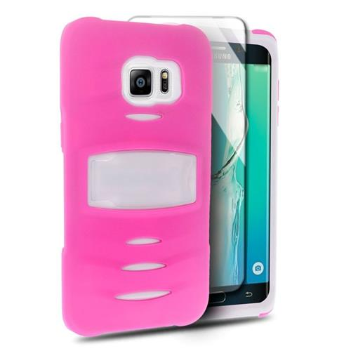 Insten Hybrid Silicone/PC Case w/Screen Protector For Samsung Galaxy S6 Edge Plus, Hot Pink/White